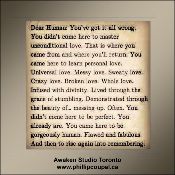 Being Human at the Awaken Studio www.phillipcoupal.ca